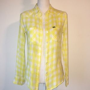 Hurley yellow plaid top, size S